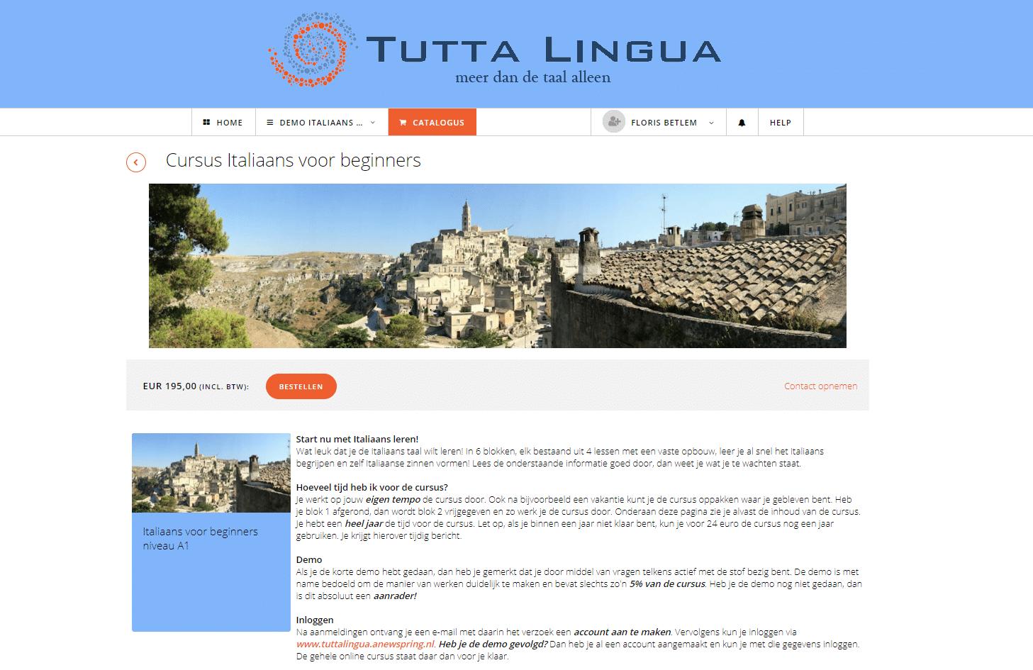 Informatie pagina Online Cursus italiaans